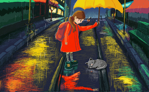 Silly cat, get off the rails. MS Paint by deliatee