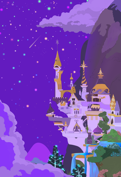 Colorful stars over Canterlot. by grethzky