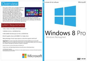 Windows 8 Pro 64-bit White DVD Cover (New MS Logo) by Mandosis