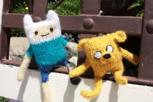 Adventure Time Finn and Jake Dolls by rabbitsandrobots2012