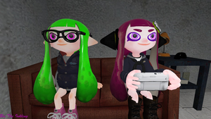 Me and Ellie playing splatoon by britheinkling