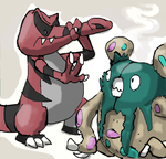 Krookodile and Garbodor by drobot45