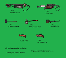 TF2- Custom RED Pyro Weapon Sprites by Drakatha