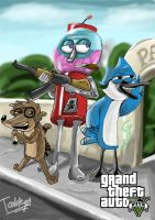 Regular Show as GTA V poster by Tahkyn