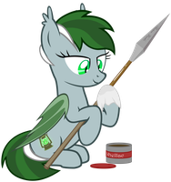 Nightlight polishing her spear by VectorVito