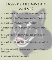 laws of the Mythic-wolf-team by Darkstor1