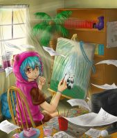 Teal in her Room-Contest Entry by KazumiMai