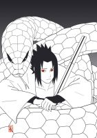 Sasuke and the snake by sharingandevil