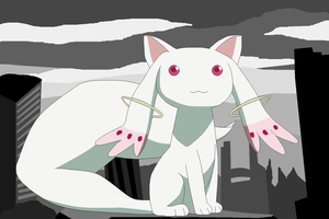 Kyubey in the Big, Broken City by saffronpanther