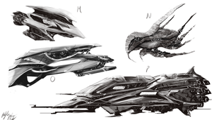 Spaceship concepts 4 by PeterPrime