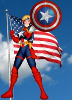 Mari as Captain America by OrionPax09