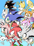 Sonic Group Together (colored) by RGXSuperSonic