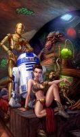 Slave Leia and Jabba the Hutt by cehnot