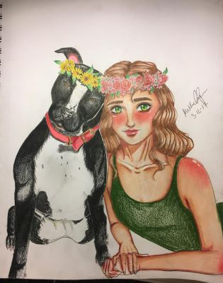 Girl and Dog by Surridya