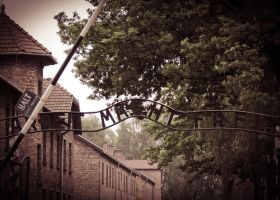 Entrance to Auschwitz by Ajumska
