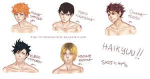 Haikyuu!! sketches by littleWildviolet