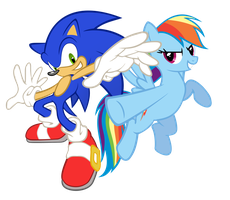 Rainbow Dash and Sonic Cross by GeoNine