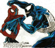 Spiderman and Venom by DasherDoodle
