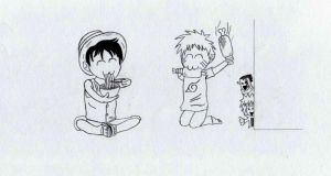 Young Luffy and Young Naruto by SketchMyD