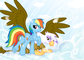Rainbow dash and Gilda by Sotoco