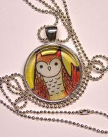 owl pendant by michellescribbles