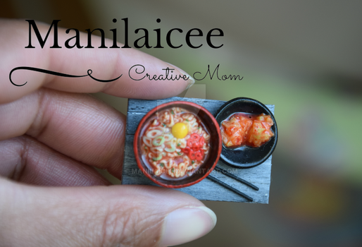 Miniature Korean Noodles Bowl with Kimchi by Manilaicee