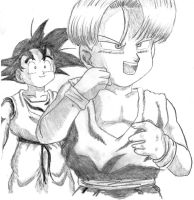 Goten and Trunks pencil sketch by Lala-Dello