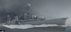 Naval Battle - USS CA-26 atmospheric by Count-one