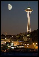 Space Needle at Night, Seattle by AlexCphoto