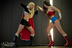 Dark Supergirl vs. Wonder Woman. FIGHT. by Athora-x
