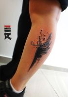 Feather wing trash polka by enhancertattoo