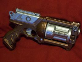 Copper and steel compressed steam pistol by Frost-Claw-Studios