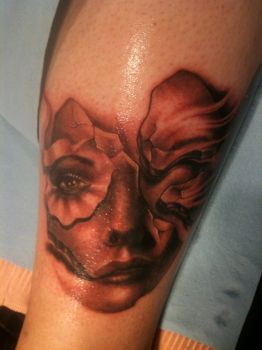 Freehand girl tattoo by hatefulss