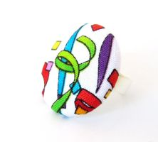Large statement ring - big bright fabric ring  by KooKooCraft
