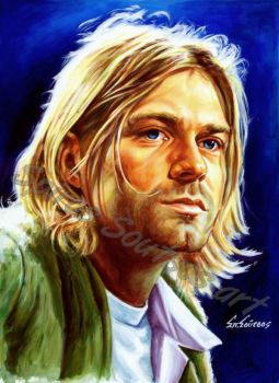 Kurt cobain painting portrait Nirvana poster by SpirosSoutsos