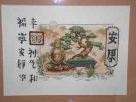 Buddha and Bonsai Cross Stitch by DRAGONSEEKER789