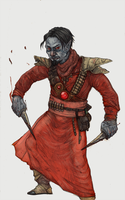 Dunmer in Morag Tong robes by zhirfrox