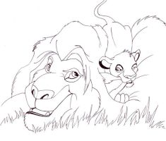 Mufasa and Simba Lineart by bexyboo16