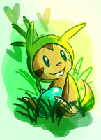 Chespin Chillin with an Oran Berry by MizzSnow