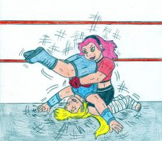 Wrestling Sakura vs Ino 2 by Jose-Ramiro
