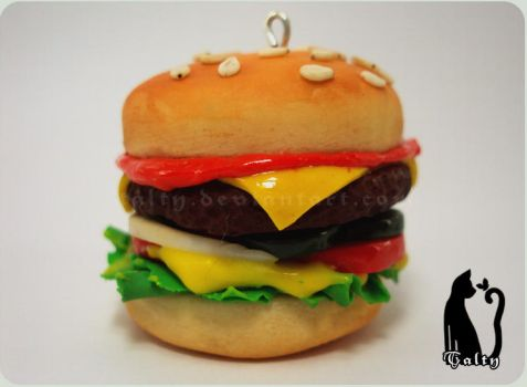 Polymer Clay Hamburger by Talty