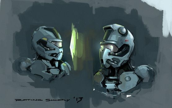 Helmet Sketches by RottingShortly