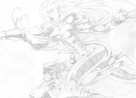 Storm and Wolverine - Pencils by StingRoll