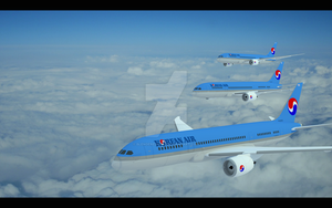 Korean Air 787-9 by blenderednelb