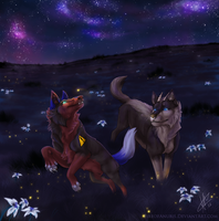 Inky Skies and Fireflies by FireofAnubis