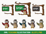 Owl Teaching Illustration free vector by pixaroma