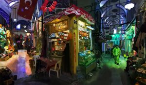 Digital Painting of Bazaar by MetaMunkee