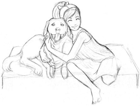 Girl and Dog by s2Faye