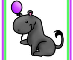 GA- Hippo With A Balloon by ZebraRaine