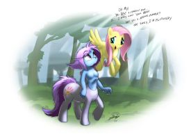 Aurore Meets Fluttershy by Lionheartcartoon